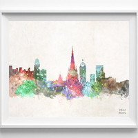 Barcelona Skyline, Spain Watercolor, Poster, Art Print, Wall Art, Cityscape, City Painting, Living room, Illustration, Europe [NO 445]