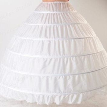 Luxurious Western Style Puffy Elastic Waist Plus Size Ball Gown Wedding Petticoat 6 Hoops For Bride Dress Pt017