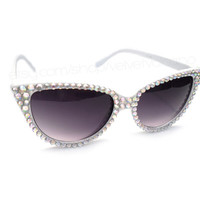 Starlet Silver White Crystal Encrusted Cat Eye Sunglasses - Sparkly Bling Glitz Eyewear - Rhinestone Rockabilly Sunglasses - Sunnies Shades