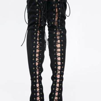 Lace It Up Thigh-High Boots