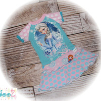 "Girls size 4/5/6  Upcycled New Disney's Elsa Frozen Let it Go (tm) T-Shirt Dress   12.5"" x 25"""