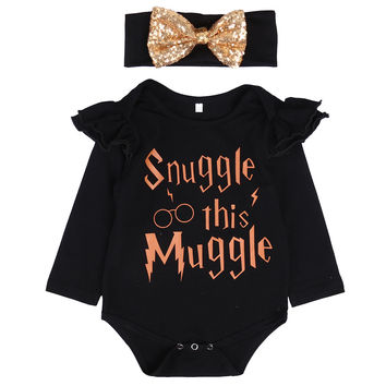 Snuggle this Muggle Newborn Baby Girls Romper Clothes Long Sleeve Infant Bebes Inspired Onesuits Outfit Sunsuit