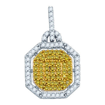 Diamond Micro-pave Pendant in 10k White Gold 0.4 ctw