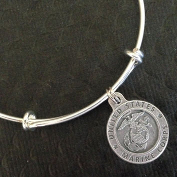 Marines Protect Me Saint Christopher Medal Patron Saint of Travelers Silver Expandable Bangle Adjustable Bracelet Silver Wire Bangle Handmade