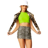 Faux Real White Cheetah Mini Skirt