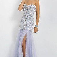 Long Embellished Strapless Sweetheart Gown