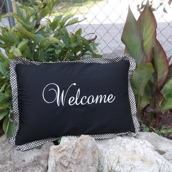 Custom Welcome 14x22 embroidered feather pillow with trim