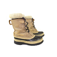 7 | Sorel Leather & Rubber Boots / caribou duck boots / outdoor snow boot / wool lined / womens size 7