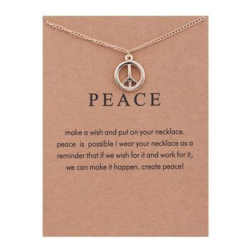 Peace Sign Card Alloy Clavicle Pendant Necklace   171211