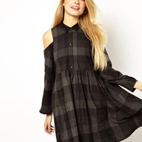 ASOS Extreme Smock Dress With Cold Shoulder In Check