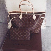 LV Women Shopping Leather Tote Handbag Shoulder Bag Purse Wallet Set Two-Piece I