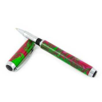 Watermelon Orion Pen with Chrome, Handmade Rollerball Pen, Turned Acrylic Pen, Engraved Pen, Green and Red Pen, Unique Gift Pen