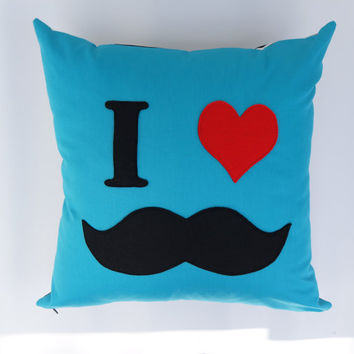 Nerdy Mustache throw pillow, novelty cushion cover: aqua blue