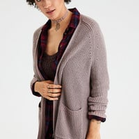 AE Slouchy Plaited Knit Cardigan, Rose