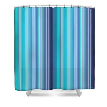 Lilac and Blue Stripes Shower Curtain