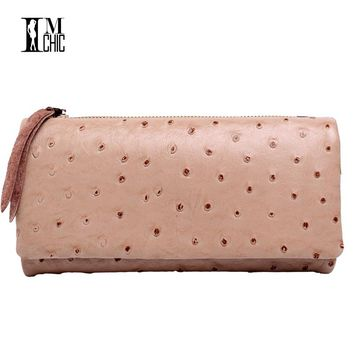 Genuine Leather Tri-fold Long Design Ostrich Pattern Women Wallets Vintage Real Cowhide Ladies Purse Lady Billeteras mujeres 071