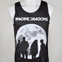 Indie Rock Imagine Dragons Radioactive Dan Reynolds Wayne Sermon Dan Platzman Ben McKee In The Moon Dark Gray MEN Vest Tank Top