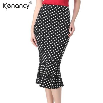 Kenancy 2018 Fashion New 2XL Mermaid Midi Skirt Women OL Fishtail Elastic High Waist Skirt 4 Colors Saia All-match & Slim Skirt