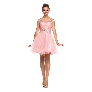 Cap Sleeve Baby Doll Dress Blush Short A Line Poofy Tulle