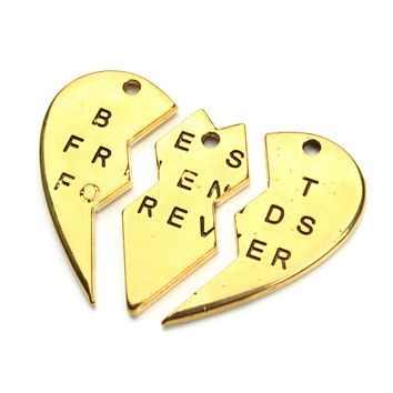 2sets/lot Gold and Silver 3 Parts Letter Heart Pendant Charms Best Friends Forever Pendant for Necklace Jewelry Findings F2940