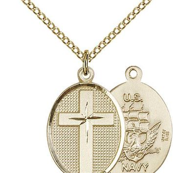 14K Gold Filled Cross Navy Military Soldier Catholic Medal Necklace 617759812589