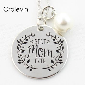 BEST MOM EVER Engraved Pendant Charms Necklace Mother Day Gift For Mother Mom Jewelry 10Pcs/Lot,#LN295