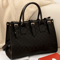 Women Grid Pattern Faux Black Leather Handbag Tote PU bags (Color: Black) = 1931807684