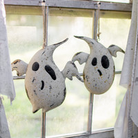 Set of 2 Painted Metal Hanging Ghosts