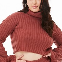 Plus Size Ribbed Cropped Turtleneck & Skirt Set