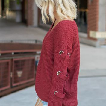 Marsala Side Lace Sweater