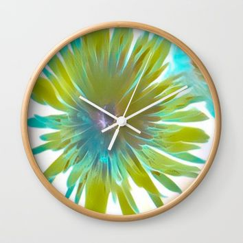wild flower Wall Clock by violajohnsonriley