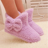 New Autumn And Winter Warm Cotton-padded Shoes Cute Bow Iindoor Boots Soft-soled Slippers At Home Candy-colored Plush Boots