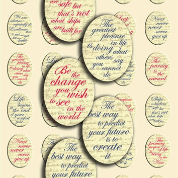 Inspirational/Motivational Quotes - Digital Collage Sheet - Oval shape - 2x30 - 30 mm x 40 mm