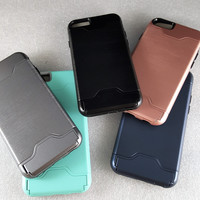 Metallic Case With Credit Card Holder & Kickstand For iPhone 6+ & 6S+