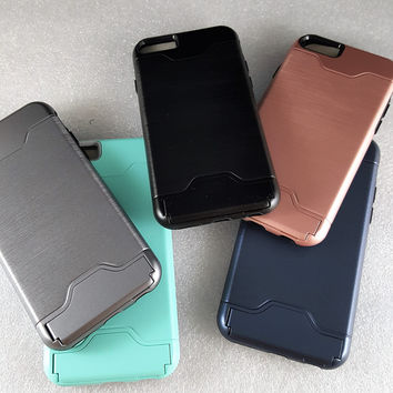 Metallic Case With Credit Card Holder   Kickstand For iPhone 6+   6S+ 9796c428a871