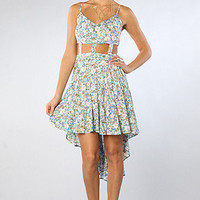 The Long Cut Out Dress in Blue Floral