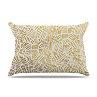 "Pom Graphic Design ""Inca Gold Trail"" Yellow Brown Pillow Sham"