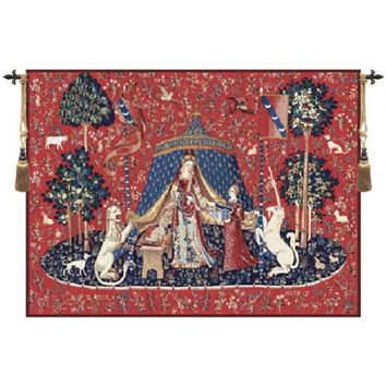 medieval Unicorn - noble woman cotton woven 83*68cm wall hanging belgium tapestry for home decor PT-34