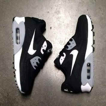 NIKE AIR MAX 90 fashion ladies men running sports shoes sneakers F-PS-XSDZBSH Black and white check + grey sole