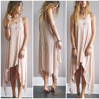 A Simple Flow Dress in Taupe