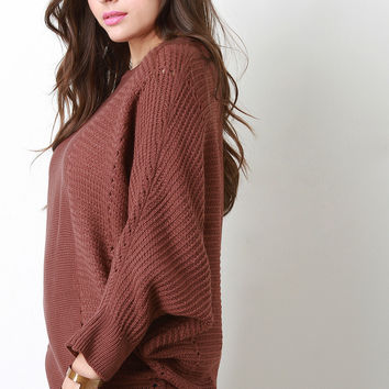 Contrast Knit Baggy Bat Wing Sweater