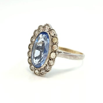 Vintage Art Deco Paste Blue Stone Cluster Halo Estate Ring Size 6.75