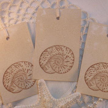 Nautilus Shell Tags Vintage Inspired Set of 10