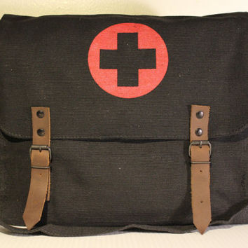 Silkscreened Red Cross Vintage Canvas Medic Bag in Black - Free Shipping