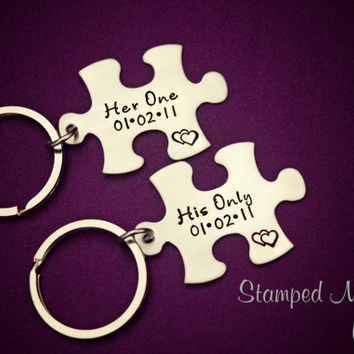 Her One, His Only WITH DATE- The Original - Hand Stamped Puzzle Piece Keychain Set - Couple Key Chain - Wedding, Anniversary, Birthday Gift