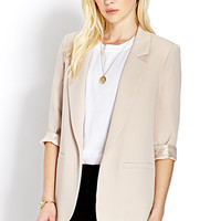 FOREVER 21 Classic Cuffed Blazer Taupe