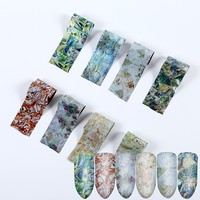 20*4cm 8pcs Holographic Nail Transfer foil Gradient Marble Nail art sticker Glue Adhesive DIY  Nails Tips Nail Accessory