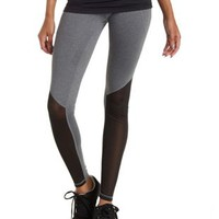 Gray Combo Mesh Cut-Out Workout Pants by Charlotte Russe