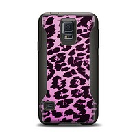 The Hot Pink Vector Leopard Print Samsung Galaxy S5 Otterbox Commuter Case Skin Set