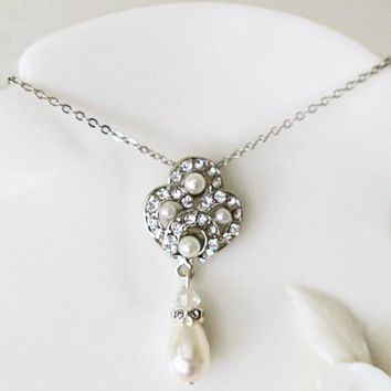Vintage Style Single Pearl Swarovski Necklace Art Deco Crystal Pendant